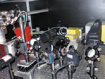 A view of Optics station II where the radiator light is analysed by the Grenouille